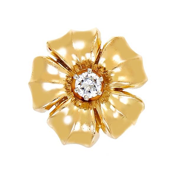 Anhänger 750 / 4,80gr Gelbgold Blume 1 Brill. ca. 0,14ct lgW (I-J) VS Detailbild #1