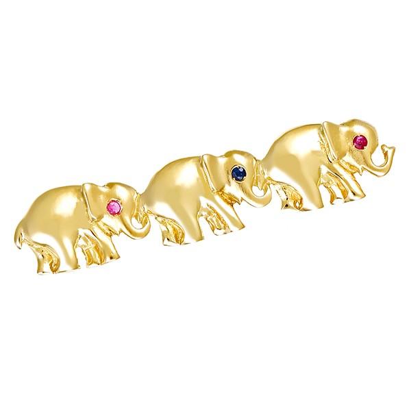 Anhänger 585 / 6,60gr Gelbgold Elefant 2 Rubine 1 Saphir Detailbild #1
