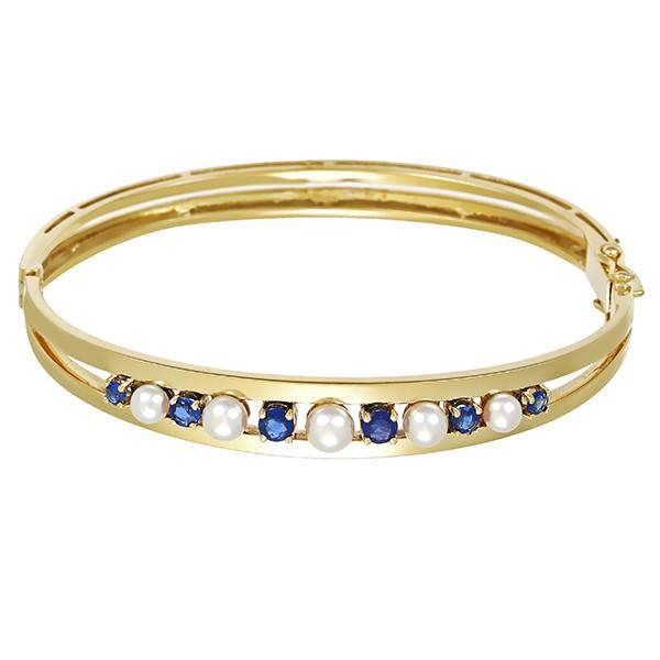 Armreif 585 / 24,90gr Gelbgold 6 Saphire 5 Perlen Detailbild #1