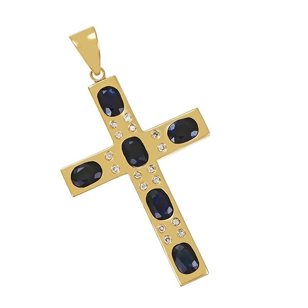 Anhänger 585 / 17,20gr Gelbgold Kreuz 6 Saphire 16 Brill. z.ca. 0,32ct Detailbild #1
