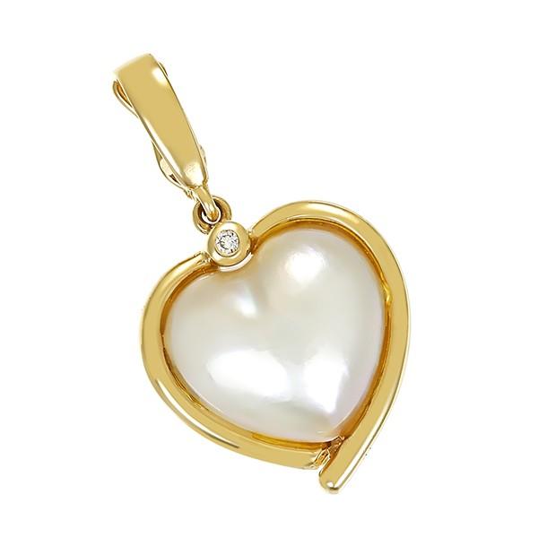 Anhänger 585 / 5,30gr Gelbgold Herz 1 Mabe-Perle 1 Brill. ca. 0,02ct Detailbild #1