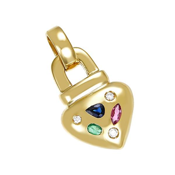 Anhänger 585 / 9,50gr Gelbgold Herz 3 Brill. z.ca. 0,13ct 1 Rubin 1 Smaragd 1 Saphir Detailbild #1