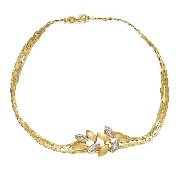 Armband 585 / 6,10gr Gelb-/Weißgold L 18 cm 4 Dia z.ca. 0,02ct Detailbild #1
