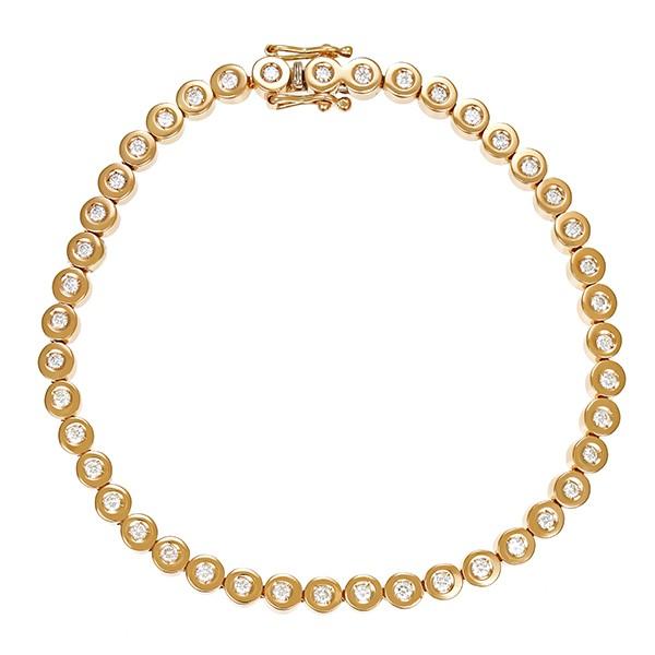Armband 585 / 13,60gr Gelbgold L 19 cm Tennis- 43 Brill. z.ca. 0,86ct Detailbild #1