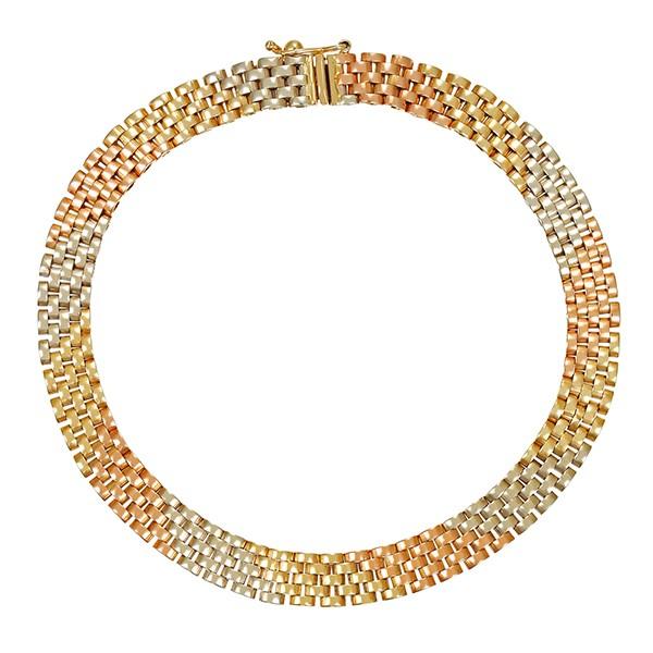 Armband 585 / 9,90gr Rot-/Weiß-/Gelbgold L 19,5 cm Fantasie- Detailbild #1