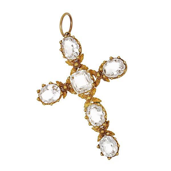 Anhänger 585 / 6,10gr Gelbgold Kreuz 6 Bergkristalle zierliche Arbeit, floral Granalien um 1850 Detailbild #1