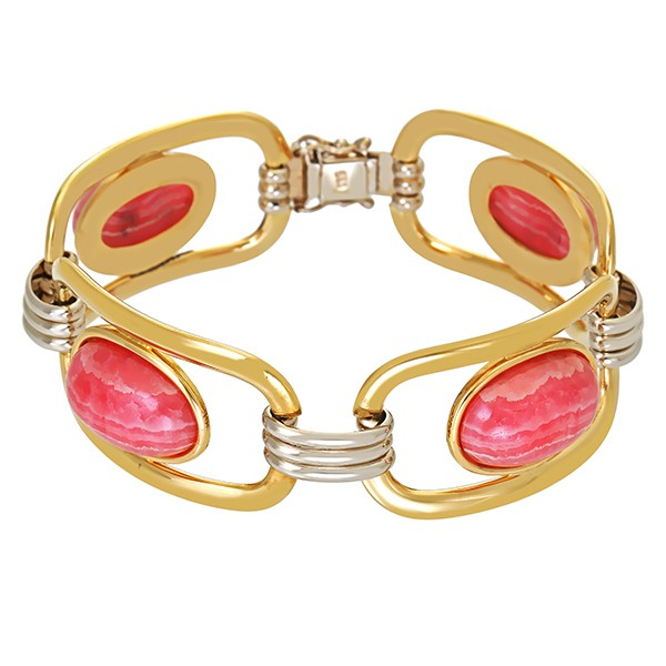 Armband 585 / 50,70gr Gelb-/Weißgold L 17 cm 4 Rhodochrosite Detailbild #1