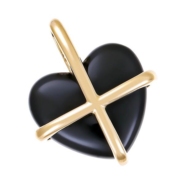 Anhänger 585 / 6,00gr Gelbgold Herz 1 Onyx Detailbild #1