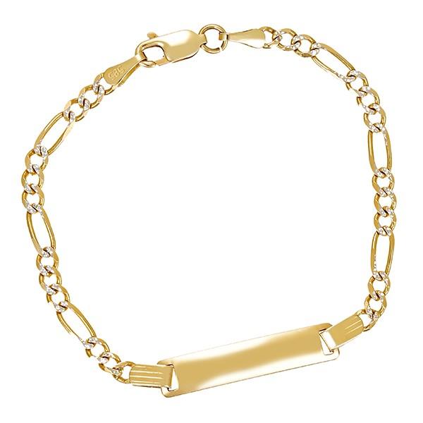 Armband 585 / 3,20gr Gelb-/Weißgold L 15 cm mit Gravurplatte Kinder- Detailbild #1
