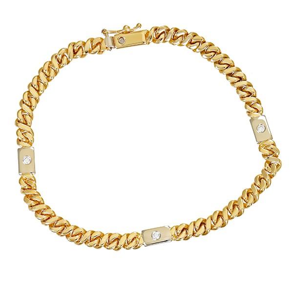 Armband 585 / 15,30gr Gelb-/Weißgold L 18,5 cm Fantasie- 3 Brill. z.ca. 0,09ct Detailbild #1