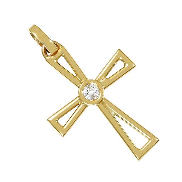 Anhänger 585 / 1,60gr Gelbgold Kreuz 1 Brill. ca. 0,10ct lgW (I-J) SI Detailbild #1