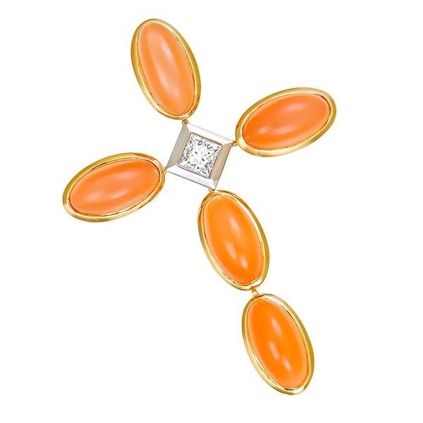 Anhänger 750 / 14,90gr Gelb-/Weißgold Kreuz 1 Dia. ca. 0,40ct W (H) VS 5 Mondsteine Detailbild #1