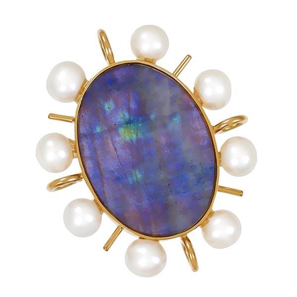 Anhänger 585 / 6,40gr Gelbgold 8 Perlen 1 Labradorit Detailbild #1