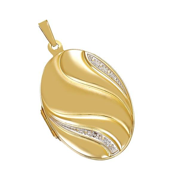 Anhänger 333 / 3,50gr Gelb-/Weißgold Medaillon 1 Dia. ca. 0,005ct Detailbild #1