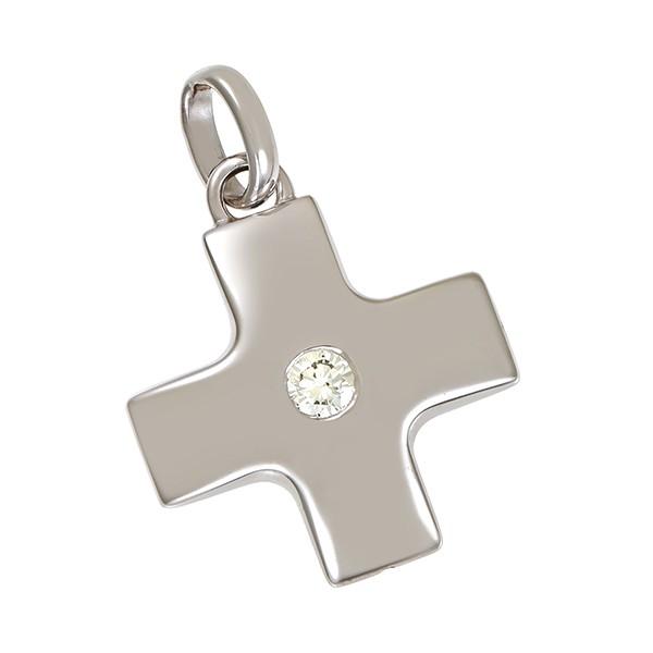 Anhänger 750 / 4,70gr Weißgold Kreuz Schmuckstück wurde rhodiniert 1 Brill. ca. 0,30ct lgW (I-J) P Detailbild #1