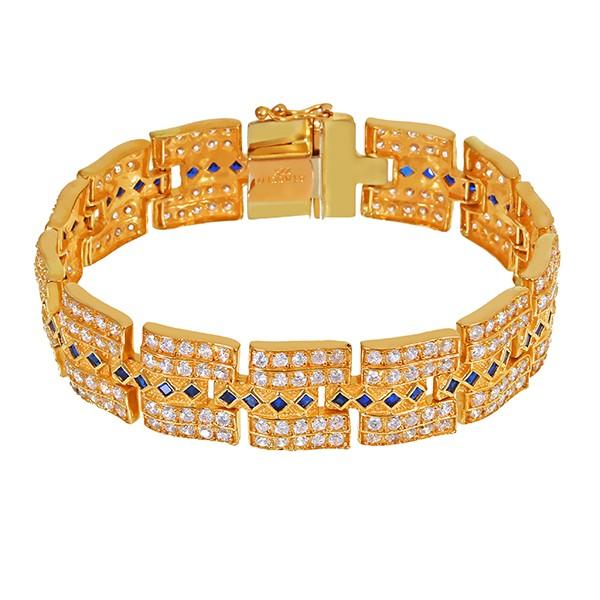 Armband 916 / 54,90gr Gelbgold L 20,5 cm Zirkonia Schmuckstein Detailbild #1