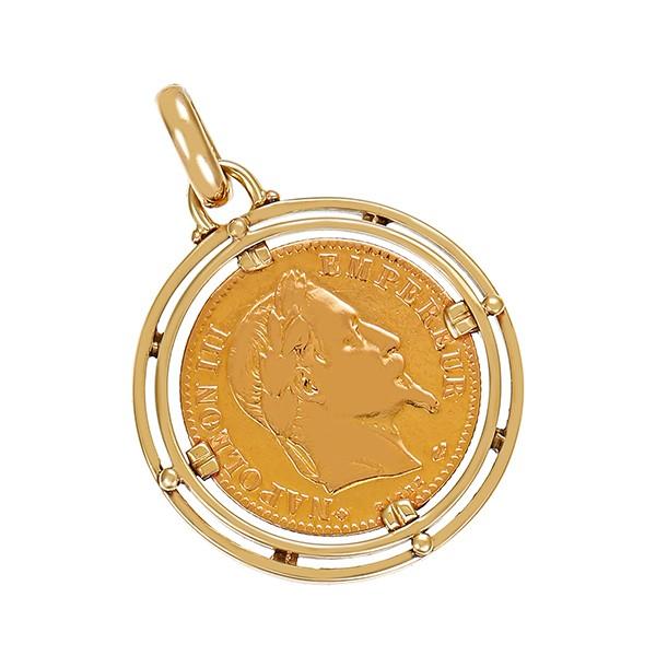 Anhänger 585 / 7,10gr Gelbgold mit 900 Münze 10France Napoleon 3 Detailbild #1