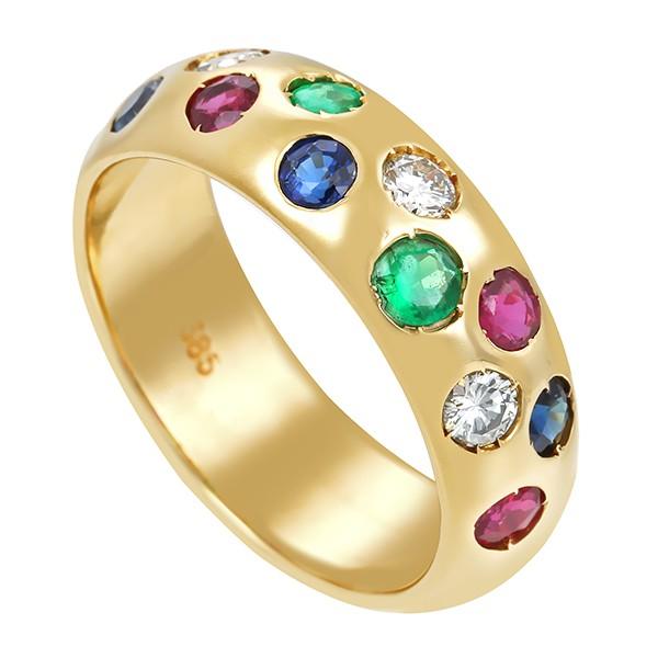 Damenring 585 / 6,20gr Gelbgold Umfang 55 2 Smaragde 3 Saphire 4 Rubine 3 Brill. z.ca. 0,21ct W (H) VS Detailbild #1