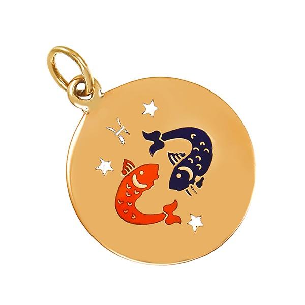 Anhänger 750 / 1,90gr Gelbgold Sternzeichen Emaille Detailbild #1