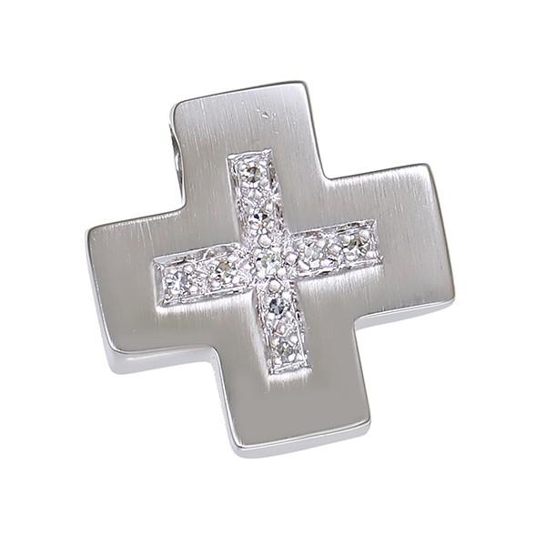 Anhänger 585 / 3,30gr Weißgold Kreuz Schmuckstück wurde rhodiniert 9 Dia z.ca. 0,04ct Detailbild #1