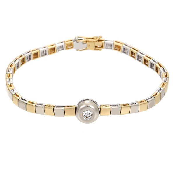Armband 750 / 18,50gr Gelb-/Weißgold L 18,5 cm 1 Brill. ca. 0,21ct lgW (I-J) SI Detailbild #1
