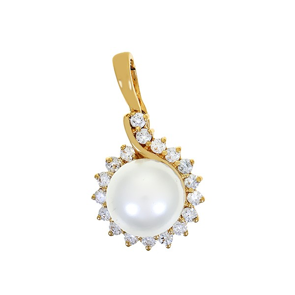 Anhänger 585 / 3,60gr Gelbgold 18 Zirkonia 1 synthetische Perle Detailbild #1