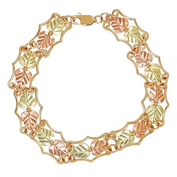 Armband 417 / 8,10gr Gelbgold/Rotgold L 18 cm Blätter Detailbild #1