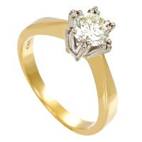 Damenring 585 / 3,27gr Gelb-/Weißgold Umfang 50 1 Brill. ca. 0,63ct gW (K-L) VS Detailbild #1