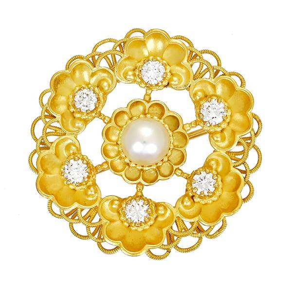 Anhänger 750 / 9,80gr Gelbgold Brosche 1 ZP 6 Brill. z.ca. 0,54ct W (H) VS Detailbild #1