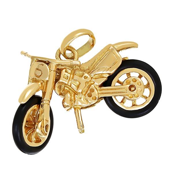 Anhänger 585 / 7,70gr Gelbgold Motorrad Kautschuk Detailbild #1