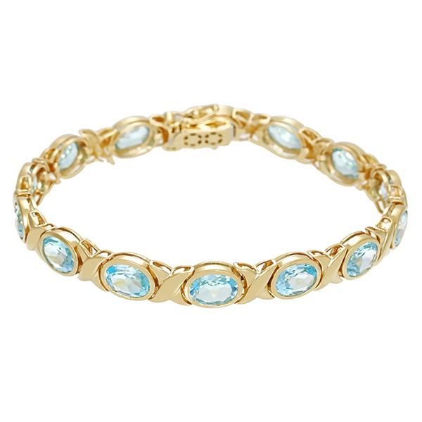 Armband 585 / 19,30gr Gelbgold L 20 cm 14 Topase blau Detailbild #1