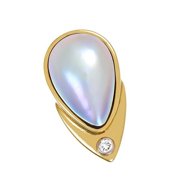Anhänger 585 / 10,00gr Gelb-/Weißgold 1 Mabe-Perle 1 Brill. ca. 0,08ct W (H) SI Detailbild #1
