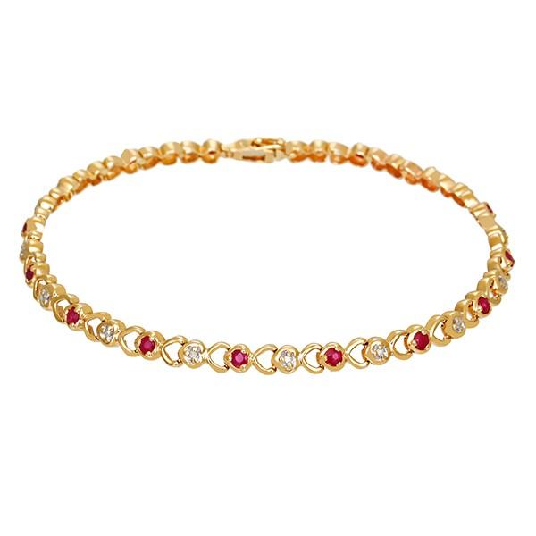 Armband 585 / 8,50gr Gelbgold L 19,5 cm 15 Rubine 15 Dia z.ca. 0,07ct Detailbild #1
