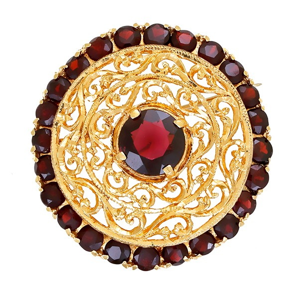 Brosche 750 / 10,80gr Rotgold 25 Granate Detailbild #1