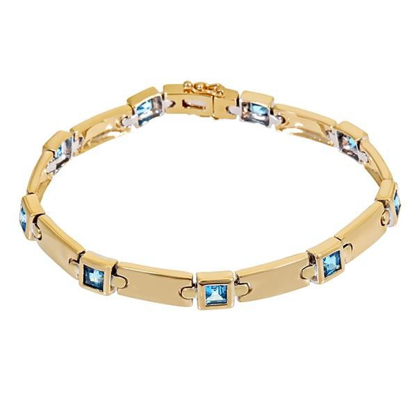 Armband 585 / 21,70gr Gelb-/Weißgold L 19 cm 9 Topase blau Detailbild #1