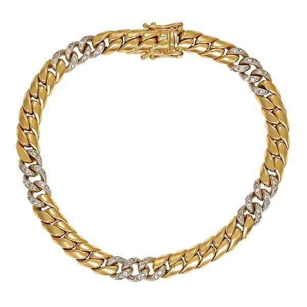 Armband 750 / 17,30gr Gelb-/Weißgold L 19,5 cm 60 Brill. z.ca. 0,60ct Detailbild #1