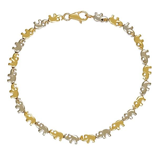 Armband 585 / 10,80gr Gelb-/Weißgold L 20 cm Elefant Detailbild #1