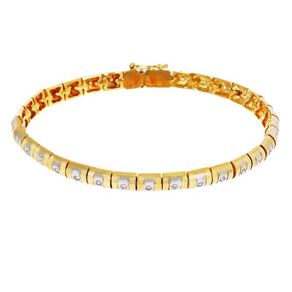 Armband 750 / 31,80gr Gelb-/Weißgold L 21 cm Fantasie- 33 Brill. z.ca. 0,99ct Detailbild #1
