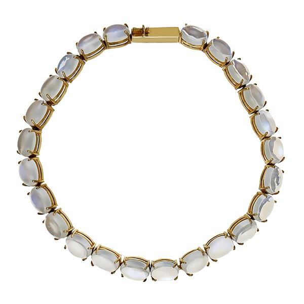 Armband 585 / 9,60gr Gelbgold L 18,5 cm 24 Mondsteine Detailbild #1