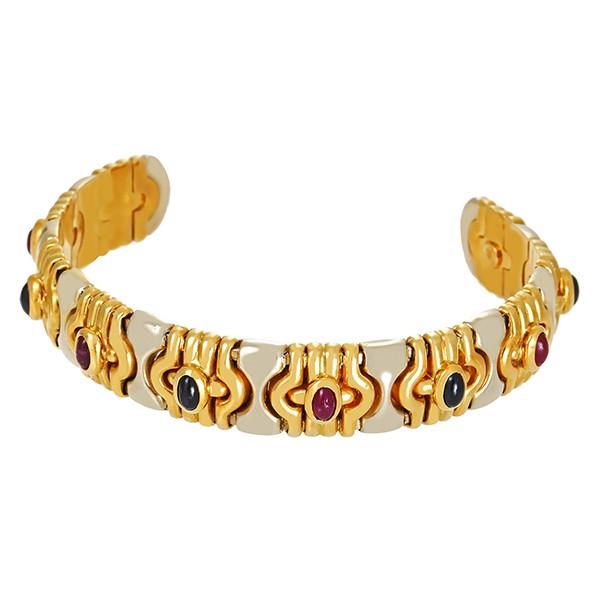 Armreif 750 / 36,16gr Gelbgold Cabochon Tragespuren 5 Rubine 5 Saphire Detailbild #1