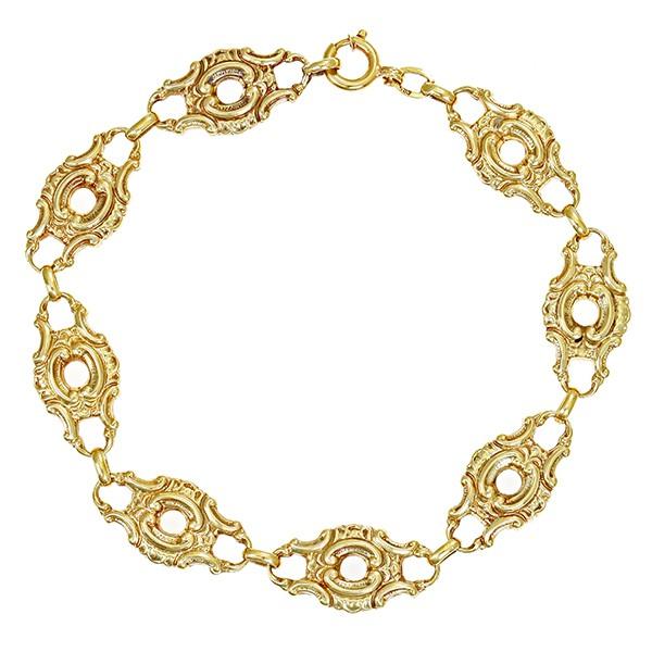 Armband 585 / 11,00gr Gelbgold L 20 cm Fantasiemuster Antikstil Detailbild #1