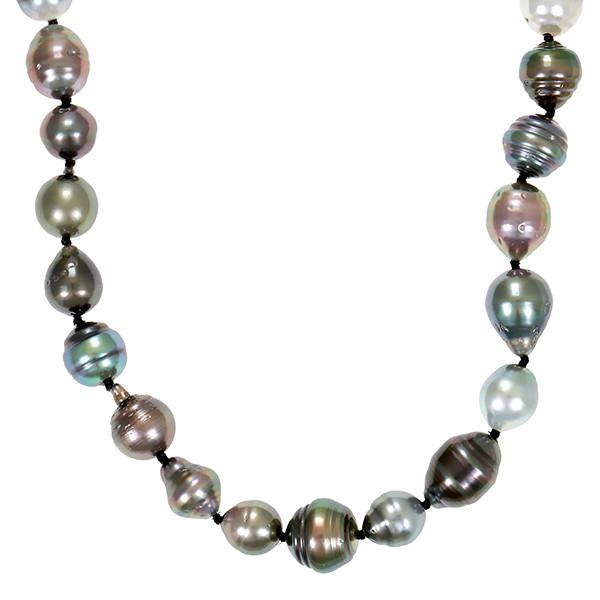 Perlenkette 585 / Weißgold L 46 cm 6 Dia z.ca. 0,03ct 38 ZP Detailbild #1
