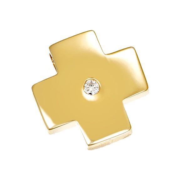 Anhänger 585 / 2,90gr Gelbgold Kreuz 1 Brill. ca. 0,04ct Detailbild #1