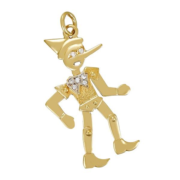Anhänger 585 / 4,70gr Gelb-/Weißgold 7 Brill. z.ca. 0,07ct Pinocchio Detailbild #1