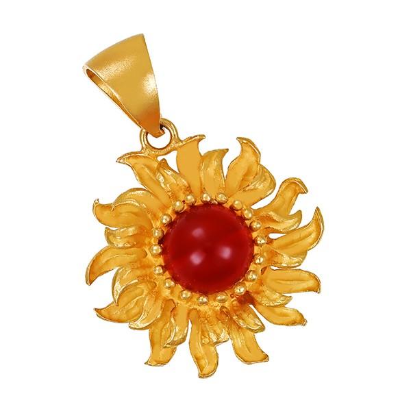 Anhänger 750 / 9,40gr Gelbgold Sonne 1 Karneol Detailbild #1