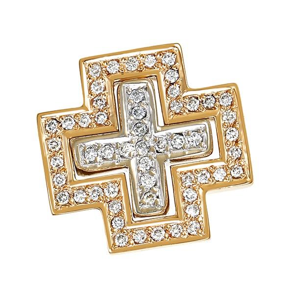 Anhänger 585 / 12,30gr Gelb-/Weißgold Kreuz 53 Brill. z.ca. 0,53ct 2-teilig Detailbild #1