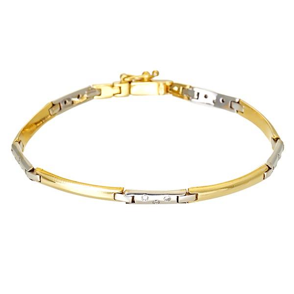 Armband 750 / 14,40gr Gelb-/Weißgold L 18 cm 15 Brill. z.ca. 0,15ct Detailbild #1