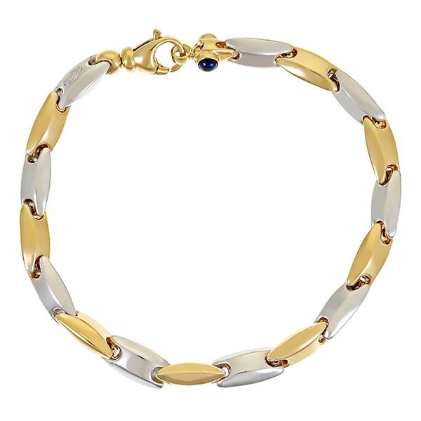 Armband 585 / 10,70gr Gelb-/Weißgold L 20 cm Fantasie- 2 Synth. Saphire Detailbild #1