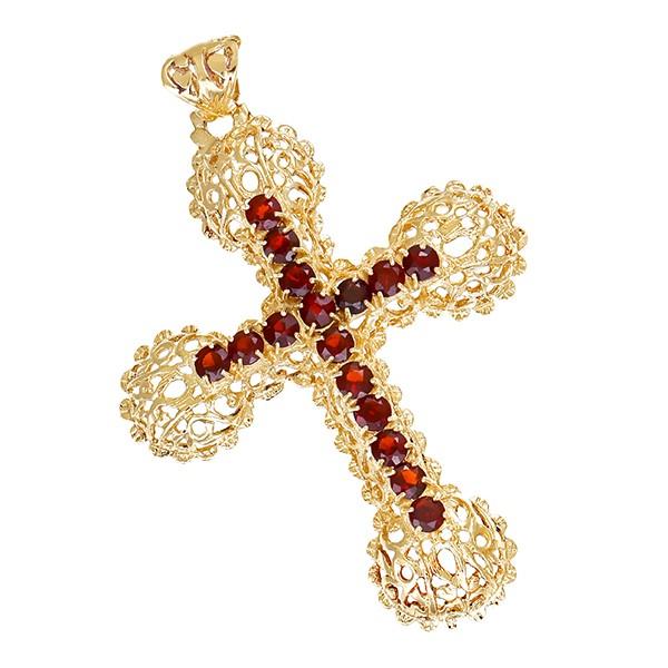 Anhänger 585 / 10,40gr Gelbgold Kreuz 16 Granate Detailbild #1