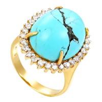 Ring, 18K, Gelbgold, Türkis, Brillant(en) 0,50ct Detailbild #1